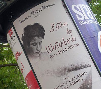 Affiche de la pièce de théâtre Lettres de Westerbork, par Etty Hillesum, Compagnie Nuits d'Auteurs